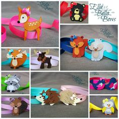 SET of FIVE Woodland Creatures Ribbon Sculpture Hair Clips, Woodland Creatures Collection, You choose FIVE