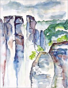 Gansfelsen: Poster & Kunstdruck von Andrea Fettweis