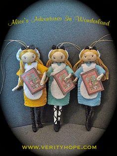 felt alice in wonderland dolls www.verityhope.com