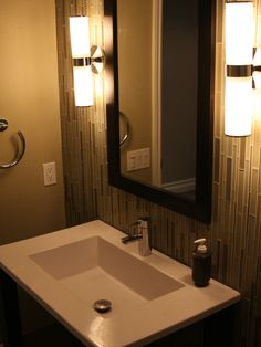 Contemporary Powder Room Tile Design For Small Bathroom Design, Pictures, Remodel, Decor and Ideas - page 10