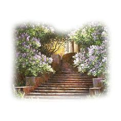 tubes paysages - Page 5 ❤ liked on Polyvore featuring tubes, backgrounds, stairs, garden and landscape
