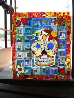 Santiago Stained Glass Day of the Dead Sequential Glass Art Mosaic Stained Glass Church, Custom Stained Glass, Stained Glass Lamps, Stained Glass Panels, Mosaic Wall, Mosaic Glass, Mosaic Tiles, Mosaic Diy, Mosaic Projects
