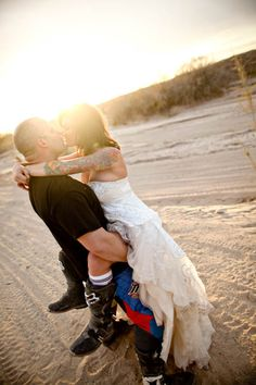 Dirt Bike, Tattoos and a Photo Shoot at Sunset · Rock n Roll Bride