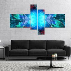 Designart 'Blue Fractal Circles and Waves' Abstract Canvas Art Print