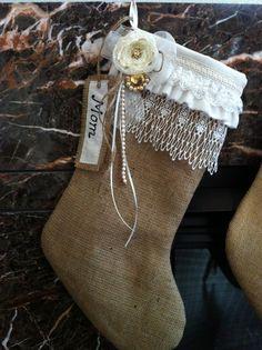 Burlap & Lace Christmas Stocking Cream White by lifesjoyousmoments, $38.00: