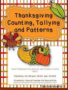 Here's a set of assorted Thanksgiving themed pages for young students on tallying, counting and patterns.