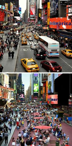 From cars to people in Times Square, NYC. Click image to tweet via slowottawa.ca and visit our boards >> https://www.pinterest.com/slowottawa/