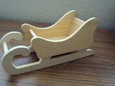 Wooden Sleigh to paint, raw wood Santa sleigh--total of 5 sleighs