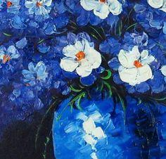 Original Hand-paint Oil Painting Blue Flower Roses ff56
