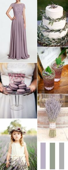 lavender and sage autumn wedding color combo ideas and lavender lace bridesmaid dresses