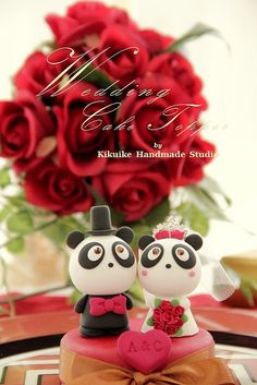 Wedding Cake Topper -Handmade lovely and cute Panda with sweet heart ,SWAROVSKI and crystals crown by charles fukuyama, via Flickr