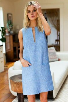 chambray shift mod Mod Shift ChambrayYou can find Shift dresses and more on our website Different Dresses, Types Of Dresses, Simple Dresses, Casual Dresses, Summer Dresses, Shift Dress Outfit, Dress Outfits, Fashion Dresses, Shift Dresses