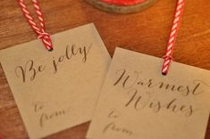 calligraphy christmas gift tags