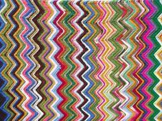 Vintage crochet afghan blanket, chevron stripes in crazy retro scrap colors