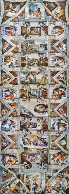 The Sistine Chapel Ceiling (ca. by Michelangelo Sistine Chapel Michelangelo, Paul Cezanne, Miguel Angel, Sistine Chapel Ceiling, Artsy Background, St Peters Basilica, Cultural Architecture, Art Curriculum, Renaissance