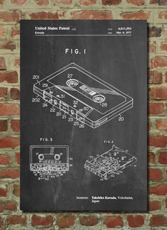 Cassette Tape Patent Art Print Patent Art by PatentPrints on Etsy