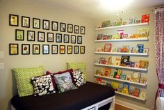 nora's room, babies room, toy room.  Some room in my house should have a wall of books