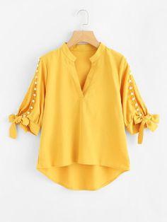 Shop Plus V Neckline Pearl Beaded Dip Hem Blouse online. SHEIN offers Plus V Neckline Pearl Beaded Dip Hem Blouse & more to fit your fashionable needs. Kurti Sleeves Design, Sleeves Designs For Dresses, Dress Neck Designs, Stylish Dress Designs, Blouse Designs, Pakistani Dresses Casual, Pakistani Dress Design, Mode Glamour, Mode Abaya