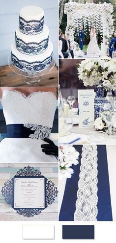 elegant lace white and blue wedding color ideas
