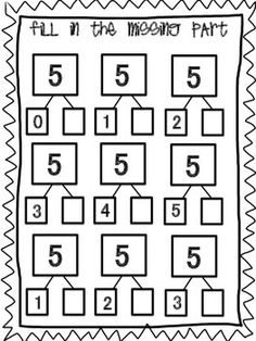 Students will find the missing part to complete the number bond. If you like this check out the 40 page bundles for numbers or Students will find the missing part to complete the number bond. If you like this check out the 40 page bundles for numbers or Numbers Kindergarten, Math Numbers, Learning Numbers, Decomposing Numbers, Kindergarten Math Worksheets, Preschool Math, Math Activities, Math Math, Math Games