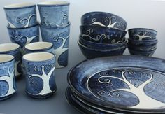 Dinner Set Tree of Life Blue White Sgraffito Pottery Stoneware Dinner Plates, Tumblers, Highball Glass, Juice Cups, Soup Bowls, Sauce Bowls ...