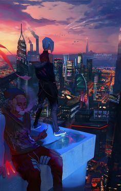 Tagged with art, deviantart, pretty sick shit, artfulbeast; Cyberpunk City, Ville Cyberpunk, Cyberpunk Kunst, Cyberpunk Aesthetic, Futuristic City, City Aesthetic, Aesthetic Anime, Fantasy Art Landscapes, Fantasy Landscape