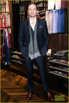 Sebastian Stan Step Out in Style for Burberry