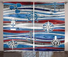 Ambesonne Anchor Decor Collection, Shipping Boat Anchor Lighthouse Steering Wheel Compass Waves Background Image, Living Room Bedroom Curtain 2 Panels Set, 108 X 90 Inches, Red Navy Blue Grey