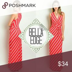"""Red white pinstripe striped maxi dress 💎77% RAYON, 19% POLYESTER, 4% SPANDEX 💎Made in USA 💎This striped maxi dress features a red and white pinstripe pattern, a v-neckline and buttery soft fabric, and waist wrap accent 💎Size small (2-4), with stretch, length 55"""" Bella Edge Boutique Dresses Maxi"""
