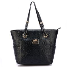 Coach In Printed Signature Medium Black Totes BBH Give You The Best feeling!