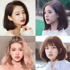 Who's short hair is your fav? Black Pink Kpop, Blackpink Fashion, Blackpink Jisoo, Blackpink Jennie, These Girls, Pink Hair, Idole, New Look, Short Hair Styles