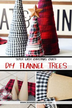 Make your Christmas decor cozy this year with these DIY Flannel Trees! They're one of the easiest Christmas craft projects you'll ever make! Plaid Christmas, Diy Christmas Gifts, Simple Christmas, Winter Christmas, Holiday Crafts, Rustic Christmas Tree Decorations, Diy Christmas Crafts To Sell, Homemade Christmas Tree, Dollar Store Christmas
