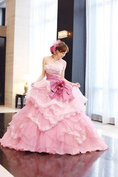 Yuri Ebihara in A Liliale Pink Wedding Dress