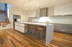 fabulous kitchen - grey and white, timber floors, modern Kitchen Benches, Rustic Kitchen, New Kitchen, Kitchen Grey, Grey Kitchens, Home Kitchens, Maplewood Kitchen, Grey Kitchen Inspiration, Kitchen Interior