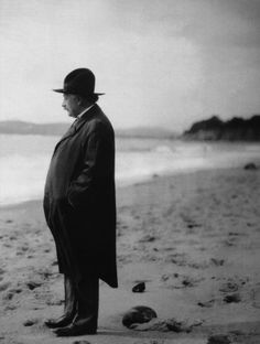 Albert Einstein on the beach.