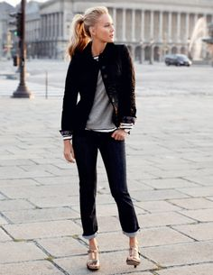 casually elegant in black, gray & stripes w/a ponytail & heels