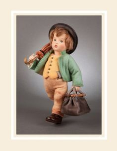 R John Wright Collectible Dolls - The Merry Wanderer - First in Hummel Series Face Mold, Annette Himstedt, Hummel Figurines, Carpet Bag, Classic Literature, Flower Fairies, Boy Doll, Vintage Dolls, Antique Dolls