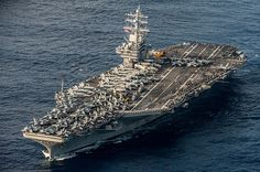 The aircraft carrier USS Ronald Reagan (CVN is underway in November 2017 during annual exercises with Japanese naval forces. (US Navy photo/Nathan Burke) Shiga, Uss Ronald Reagan, Uss Theodore Roosevelt, Navy Carriers, Uss Nimitz, New Aircraft, Fighter Aircraft, Navy Aircraft Carrier, Us Sailing