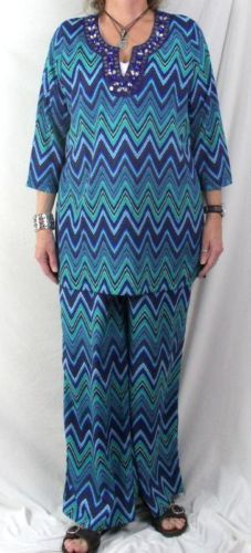 Travel Smith Outfit L size Lightweight Blue Green Beaded Tunic Top Wide Leg Pant