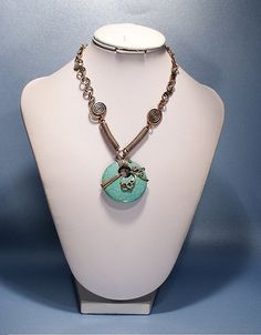 turquoise necklace  copper  wire wrapped jewelry by BeyhanAkman, $54.00