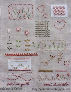 Mon cahier de broderie - Page 3 - side 1 - finished Embroidery Sampler, Sampler Quilts, Hand Embroidery Stitches, Vintage Embroidery, Embroidery Techniques, Embroidery Applique, Cross Stitch Embroidery, Embroidery Designs, Marie Suarez