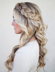 Side Swept Dutch Braid + Curls Half Updo
