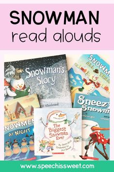 These Snowmen read aloud books are perfect for Christmas or Winter themed speech therapy! They can be used to target a variety of language skills such as rhyming, inferencing, WH questions, verbs, and so much more! Perfect for speech therapy sessions during December or January!  | Speech is Sweet