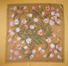 Yukiko Hanai Silk Scarf Floral Print Pattern Multi-Color Gold Vintage 90s  Designer Accessories Hand Roll Foulard 35