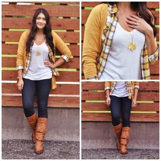 Fall fashion :: mustard yellow caridgan, flannel