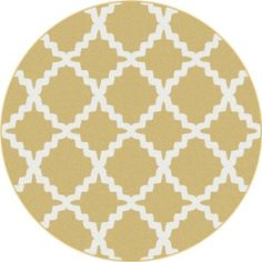 Universal Rugs Metro 1033 Round Contemporary Area Rug, 5-Feet 3-Inch, Yellow