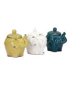 Loving this Ceramic Elephant Jar & Lid - Set of Three on #zulily! #zulilyfinds