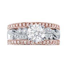 Engagement Ring - Vintage Design Engagement Ring with Bezel & Pave Set... ($4,381) ❤ liked on Polyvore