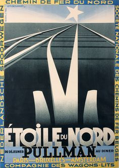 View this item and discover similar for sale at - Original vintage French railway travel advertising poster - Etoile du Nord Pullman Paris Bruxelles Amsterdam - featuring a stunning Art Deco design by