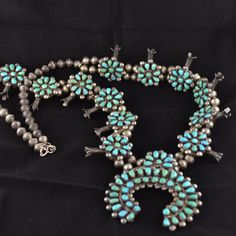 Old Pawn Navajo Turquoise Sterling Silver Squash Blossom Necklacem